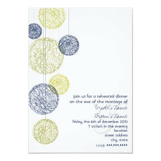 Navy & Yellow Twine Globes Rehearsal Dinner Card
