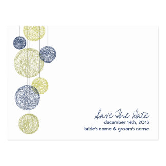 Navy & Yellow Twine Globes Wedding Save The Date Postcard