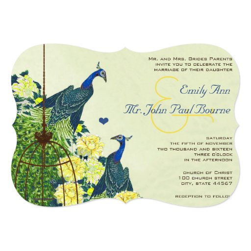 Navy & Yellow Vintage Peacock Bird Cage Wedding 5x7 Paper Invitation Card