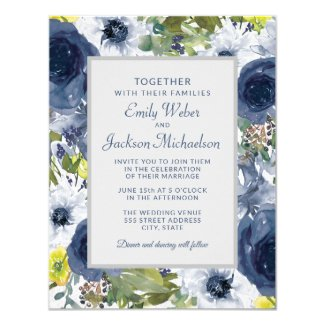 Navy Yellow White Floral and Gray Wedding Invitation