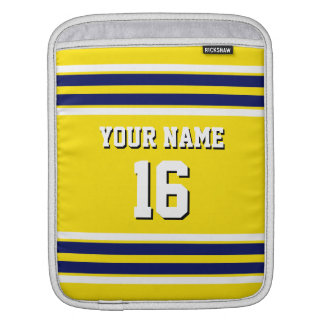 Navy Yellow White Team Jersey Custom Number Name Sleeve For iPads