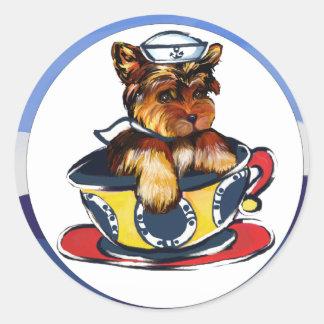 Navy Yorkie Poo Classic Round Sticker