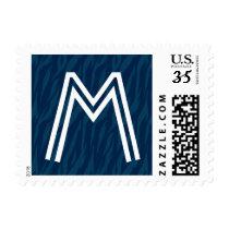 Navy Zebra Print Any Initial Wedding Monogram Postage