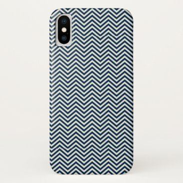 Navy Zig Zag Wave Pattern iPhone X Case