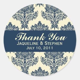 Navyblue & Ivory Damask Round Wedding Labels Classic Round Sticker