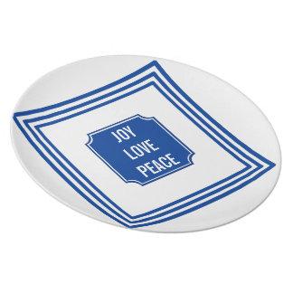 NavyBlue Joy LovePeace Merry Christmas Party Plate