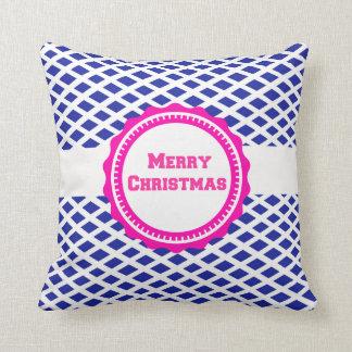 NavyBlue Pink Pattern Merry Christmas Throw Pillow