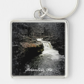 Nay Aug Park Waterfall Silver-Colored Square Keychain