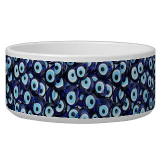 Nazar Amulets Evil Eye Stones Blue Pattern Dog Food Bowls