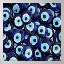 Nazar Amulets Evil Eye Stones Blue Pattern Poster