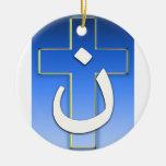 Nazarene Cross #1 Double-Sided Ceramic Round Christmas Ornament