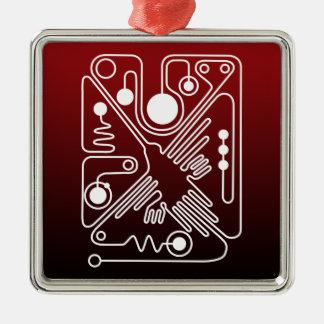 Nazca Hummingbird 2 Square Metal Christmas Ornament