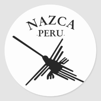 Nazca Peru Hummingbird With Curved Text Classic Round Sticker