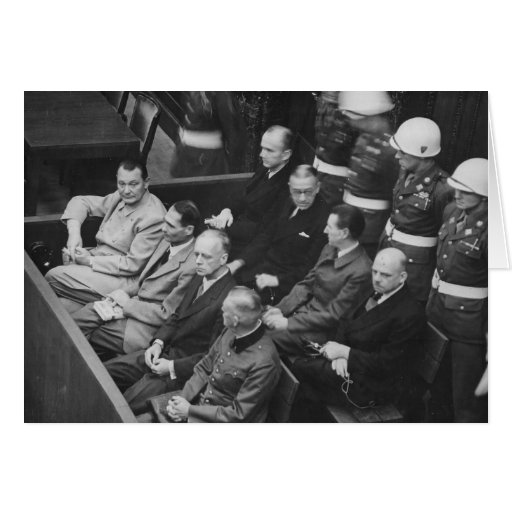 Nazi Defendants Sitting at the Nuremberg Trials Greeting Cards