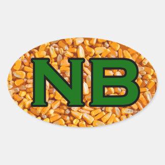 NB - Nebraska USA Oval Logo (corn) Oval Sticker