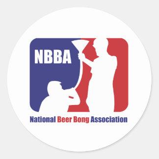 NBBA, Nationatl Beer Bong Association Classic Round Sticker