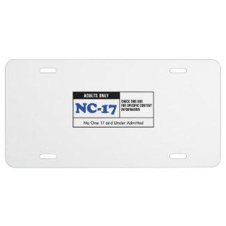 NC-17 clasificado Placa De Matrícula