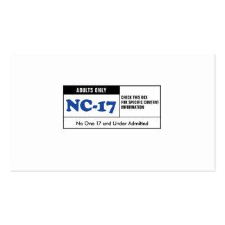 NC-17 clasificado Tarjetas De Visita