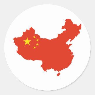 NC del Bandera-mapa de China Pegatina Redonda