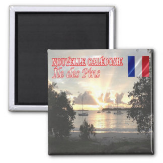 NC - New Caledonia - Isle of Pines - Sunset 2 Inch Square Magnet