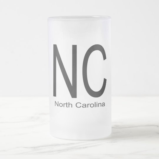 NC North Carolina black Frosted Glass Beer Mug