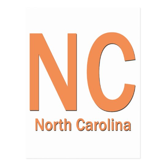 NC North Carolina plain orange Postcard