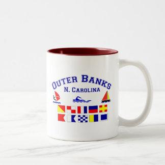 NC Outer Banks Signal Flags Two-Tone Coffee Mug