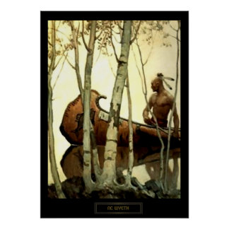 NC Wyeth Historical Painting Indian Canoe #2 Poster