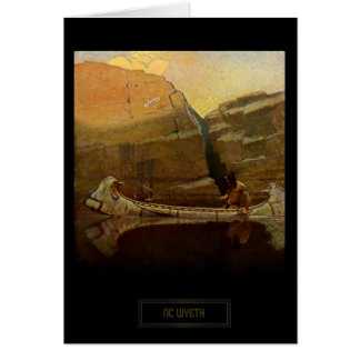 NC Wyeth Historical Painting Native Indian Canoe Card