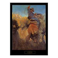 """NC Wyeth Painting """"Horse Jumping From Snake"""" Poster"""