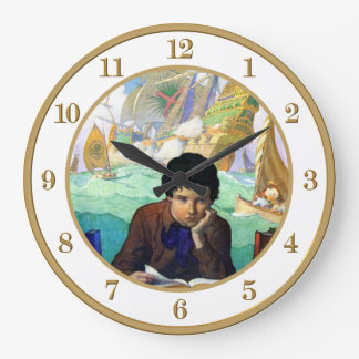 NC WYETH TALES OF ADVENTURE LARGE CLOCK
