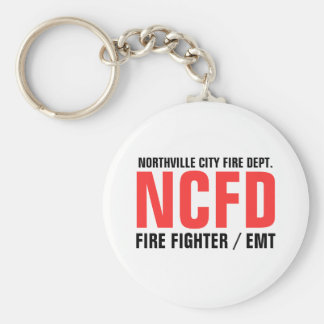 NCFD, NORTHVILLE CITY FIRE DEPT., FIRE FIGHTER ... BASIC ROUND BUTTON KEYCHAIN