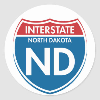 ND de un estado a otro de Dakota del Norte Pegatina Redonda
