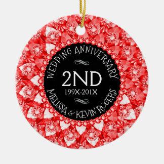 @nd Wedding Anniversary Red Diamonds And Black Ceramic Ornament