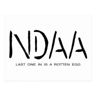 NDAA - Last one in is a rotten egg Postcard