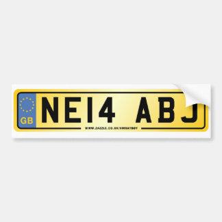 NE14 ABJ  Number Plate Bumper Sticker