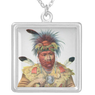 Ne-Sou-A-Quoit, a Fox Chief Silver Plated Necklace