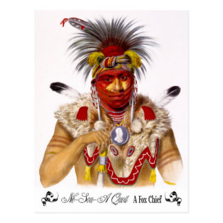 Ne-Sou-A Quoit, a Fox Chief with headdress Postcard