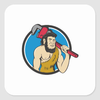 Neanderthal CaveMan Plumber Monkey Wrench Circle C Square Sticker