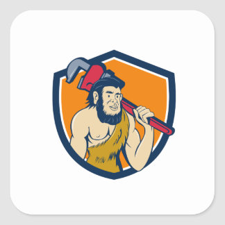 Neanderthal CaveMan Plumber Monkey Wrench Shield C Square Sticker