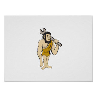 Neanderthal CaveMan With Spanner Cartoon Poster