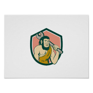 Neanderthal CaveMan With Spanner Crest Cartoon Poster