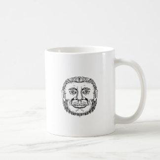 Neanderthal Male Head Doodle Art Coffee Mug