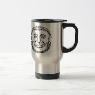 Neanderthal Male Head Doodle Art Travel Mug