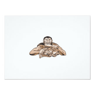 Neanderthal Man Eating Paleo Diet Etching 6.5x8.75 Paper Invitation Card