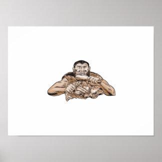 Neanderthal Man Eating Paleo Diet Etching Poster