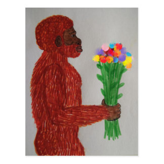 Neanderthal man flowers love postcard