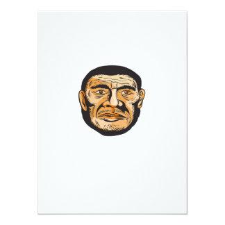 Neanderthal Man Head Etching 5.5x7.5 Paper Invitation Card
