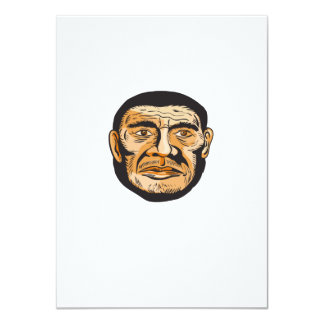 Neanderthal Man Head Etching 4.5x6.25 Paper Invitation Card