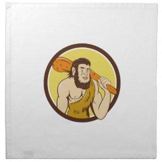 Neanderthal Man Holding Club Circle Cartoon Printed Napkins